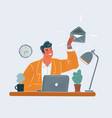 mail notification man working from home office vector image