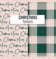 merry christmas decoration set plaid texture vector image