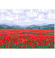 nature scene with red poppy field hills clouds vector image
