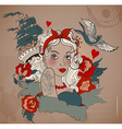 Old-school styled tattoo woman with bird and ship vector image vector image