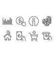 online market finance and coins icons bar vector image vector image