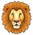 pixel lion face isolated vector image vector image