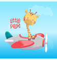 poster cute giraffe flying on an airplane cartoon vector image vector image