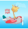 poster cute giraffe flying on an airplane cartoon vector image
