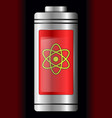 red metal with glass battery atom symbol vector image vector image