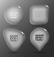Reset Glass buttons vector image vector image