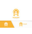 reward and arrow up logo combination vector image