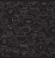 seamless pattern of hand-drawn cups and vector image
