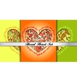 Set of decorative hearts with floral ornament vector image vector image