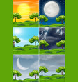 set of nature in different weather vector image