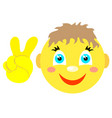 smiley boy with victoria gesture v vector image vector image