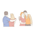 son and mother husband and wife hugging isolated vector image vector image