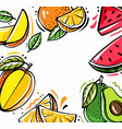 square background with different tropical fruits vector image vector image