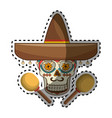 sticker decorative ornamental sugar skull with vector image vector image