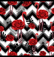trendy zigzag lines print embroidered red roses vector image vector image