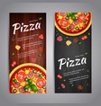 Two Realistic pizza flyer banners vector image vector image