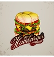 Vintage style hamburger sign background vector image vector image
