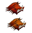 Wild boar mascot with big tusks vector image