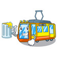 with juice electric train toys in shape mascot vector image