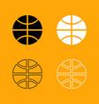 basketball ball set black and white icon vector image