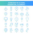 25 green and blue futuro essential element icon vector image vector image