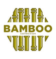 bamboo collection promo emblem in hexagon shape vector image vector image