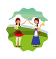 bavarian women holding hands with beers landscape vector image