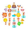 belief icons set cartoon style