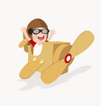 boy playing with cardboard airplane vector image