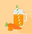 carrot juice in mason jar with carrot vector image vector image