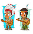 cartoon indian chief and boy character set vector image vector image