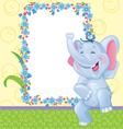 Children frame with elephant vector image