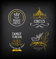 Circus and carnival vintage design label elements vector image vector image