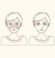 concept for girl remove freckles outline vector image vector image