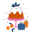 cute christmas pudding cartoon character vector image vector image