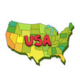 drawn map usa united states america vector image vector image