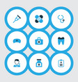 drug icons colored set with first-aid kit patch vector image