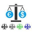 euro and dollar scales flat icon vector image