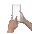 female hands hold smartphone with blank screen vector image vector image