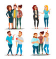 friends characters set laughing friends vector image