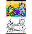 funny robot characters group coloring book vector image vector image