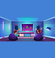 game room with people esports concept vector image vector image