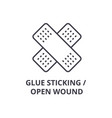 glue sticking open wound thin line icon sign vector image vector image