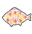 grunge fish icon on background vector image vector image