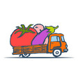 hand drawn truck with giant vegetables vector image vector image