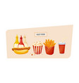 hot hot dog with different sauces popcorn potato vector image
