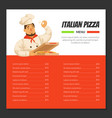 italian pizza menu template traditional cuisine vector image vector image