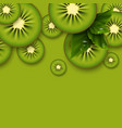 kiwi green background sliced kiwi pieces vector image vector image
