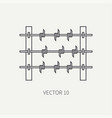 line flat military icon - barbed wire army vector image vector image