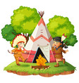 native americans nect to teepee vector image